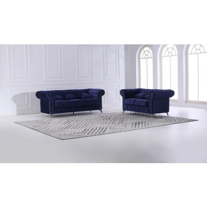 Invogue Chesterfield 3+2 Plush Velvet Sofa