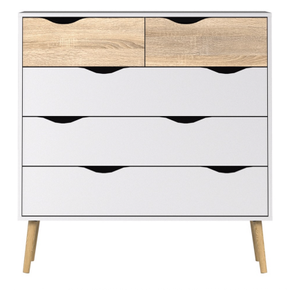 Chest of Draw 5 Draws in white and Oak and White and Black