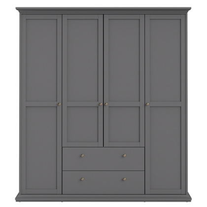 Paris Wardrobe with 4 Doors and 2 Drawers