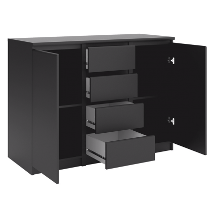 Naia Sideboard - 4 Drawers 2 Doors in Black Matt